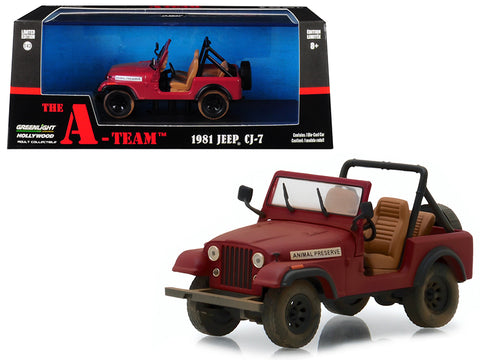 "1981 Jeep CJ-7 ""Animal Preserve\"" Red \""The A-Team\"" (1983-1987) TV Series 1/43 Diecast Model Car  by Greenlight"