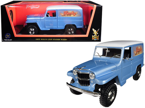 "1955 Willys Jeep Station Wagon Silver Blue with White Top ""Lucky\"" 1/18 Diecast Model Car by Road Signature"