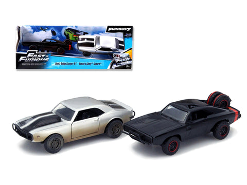 "Dom\'s 1970 Dodge Charger R/T Off Road and Roman\'s Chevrolet Camaro Z/28 ""Fast & Furious 7\"" Movie Set of 2 Cars 1/32 Diecast Model Cars by Jada"