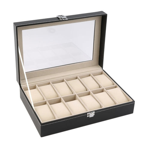 12 Slots Grid PU Leather Watch Display Box
