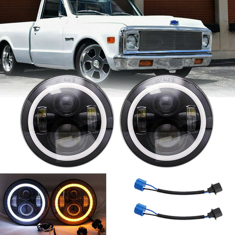 DOT 7 inch Round LED Headlight Pair Halo Angle Eyes For Dodge Dart 1964-1976