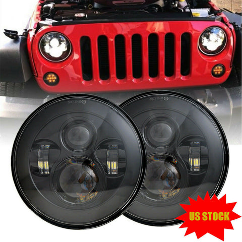 "7"" Round LED Headlights Hi/Low Beam For Jeep Wrangler JK TJ CJ"