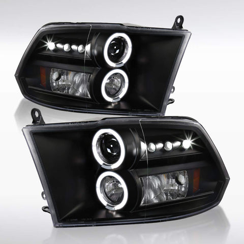 For 2009-2019 Dodge Ram LED Halo Projector Headlights Glossy Piano Black