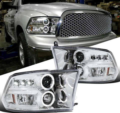 LED Halo For Dodge 09-18 Ram 1500 2500 3500 Projector Headlight Clear Lens Pair