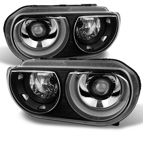 Fit 2008-2014 Dodge Challenger Replacement Black HID Type Headlights lamp L+R