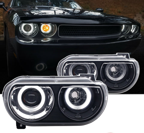 2008-2014 Black [Dual LED Halo] Projector Headlights Pair For Dodge Challenger