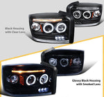 Dodge 05-07 Dakota Replacement LED Dual Halo Glossy Black Projector Headlights