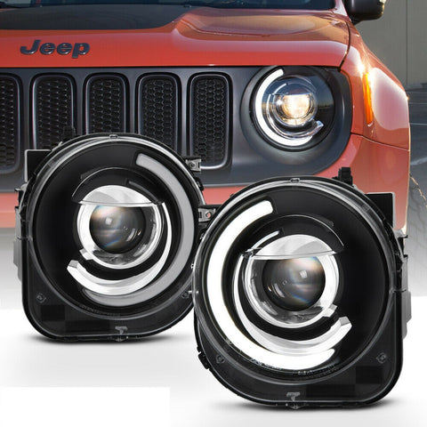 Black For 2015-2018 Jeep Renegade LED DRL Tube Mono-Eye Projector Headlights Headlamps