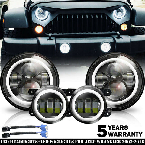 2007-2017 For Jeep Wrangler JK Halo LED Headlights + Halo LED Fog Lights Combo Kit