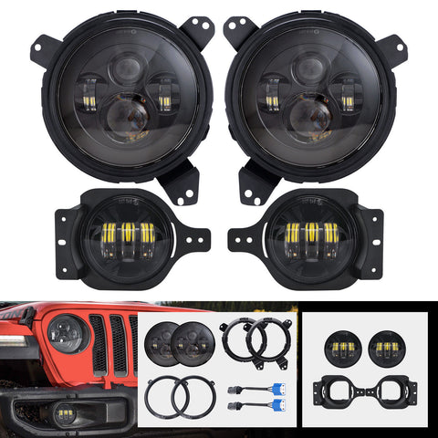 7'' Black LED Headlights & 4'' Fog Lights & Brackets for 2018-2019 Jeep Wrangler JL