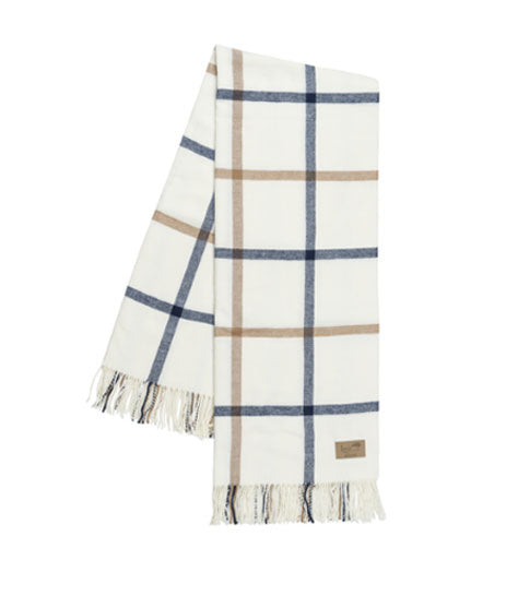Navy and Caramel Tattersall Plaid Throw