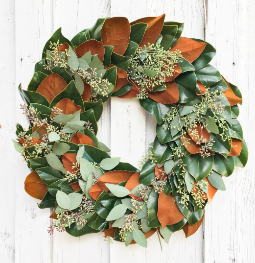 Magnolia and Seeded Eucalyptus Wreath 30""