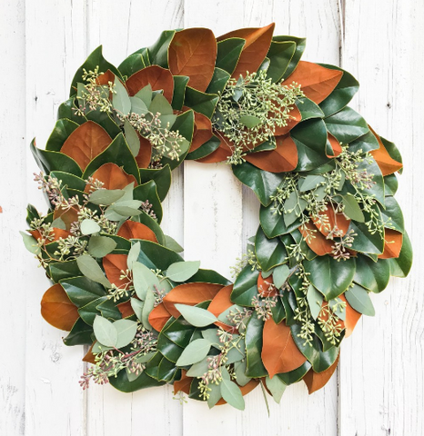 Magnolia and Seeded Eucalyptus Wreath 24""