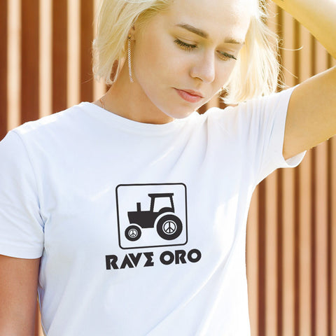 Woman's Rave Oro Peace Tractor T-Shirt - V1.0