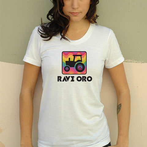Woman's Rave Oro Rainbow Peace Tractor T-Shirt - v2.0