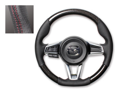 "*FREE USA DOMESTIC SHIPPING! 2016- Mazda MX-5 Miata Roadster ND  - LHD or RHD  ""REAL"" brand Premium Leather Gun Grip Steering Wheel  (Factory Airbag Compatible) - Stage 10 Online"