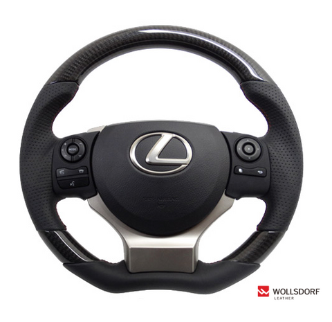"*FREE USA DOMESTIC SHIPPING! 2014- Lexus  NX- LHD or RHD  ""REAL"" brand Premium Leather Gun Grip Steering Wheel  (Factory Airbag Compatible)"
