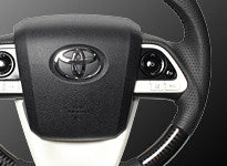 "*FREE USA DOMESTIC SHIPPING! 2016- Toyota Prius Type XW50, 2016- Toyota Mirai -  LHD or RHD ""REAL"" brand Premium Leather Gun Grip Steering Wheel  (Factory Airbag Compatible)"
