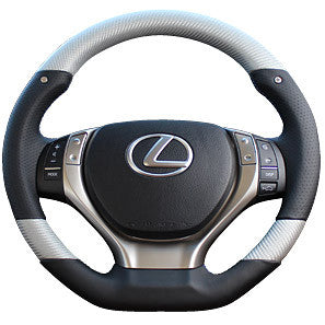 "*FREE USA DOMESTIC SHIPPING! 2011- Lexus GS GSF GS Hybrid, 2012-2015 Lexus RX- LHD or RHD  ""REAL"" brand Premium Leather Gun Grip Steering Wheel  (Factory Airbag Compatible)"