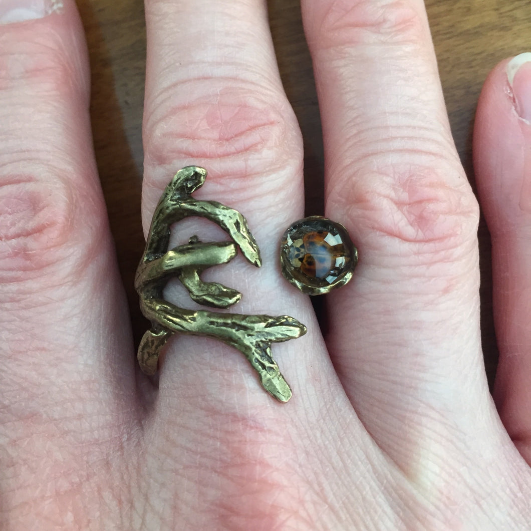 Ladybug Tree Branch Ring