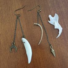 Load image into Gallery viewer, Curiosity Earrings, Tooth, Moon, Pendulum and Bone