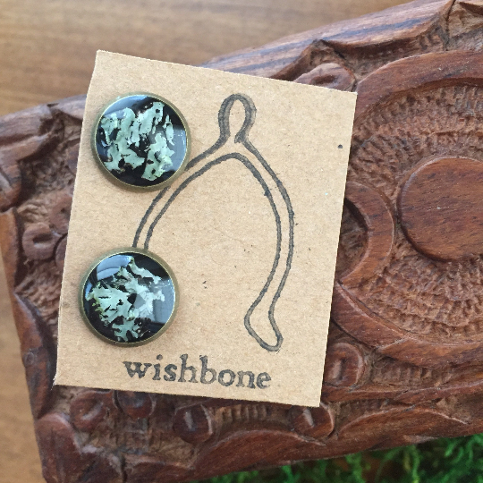 Lichen Stud Earrings, 10mm