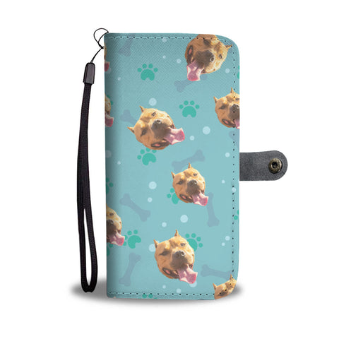 Personalized Pit Bull Paws & Bones Wallet Phone Case