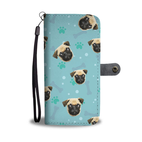 Image of Personalized Pug Paws & Bones Wallet Phone Case