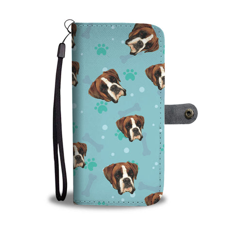 Personalized Boxer Paws & Bones Wallet Phone Case