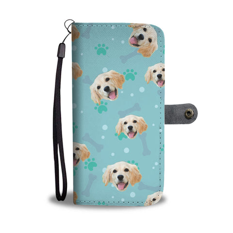 Personalized Golden Retriever Paws & Bones Wallet Phone Case