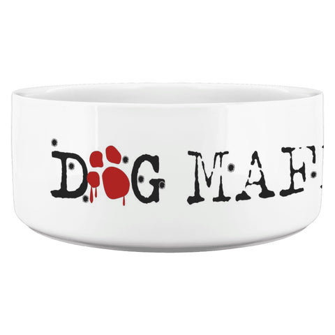 Image of Dog Mafia Inc Dog Bowl White Dog Bowls teelaunch Dog Bowl
