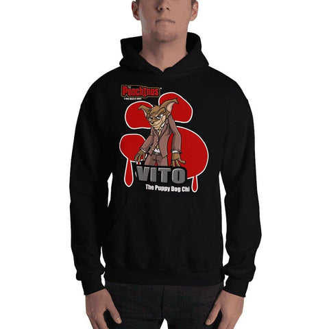 "Image of Vito ""The Puppy Dog"" Bloody Paw Hooded Sweatshirt Hoodies Printful Black S"