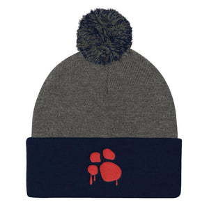 Bloody Paw Pom Pom Knit Cap Hats Printful Dark Heather Grey/ Navy
