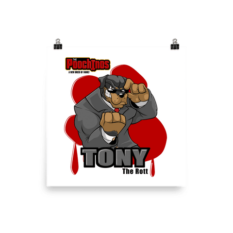 "Image of Tony ""The Rott"" Bloody Paw Poster - Dog Mafia Gear"