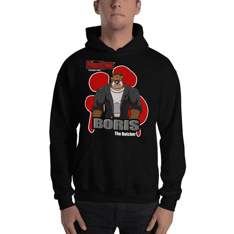 "Image of Boris ""The Butcher"" Bloody Paw Hooded Sweatshirt Hoodies Printful Black S"