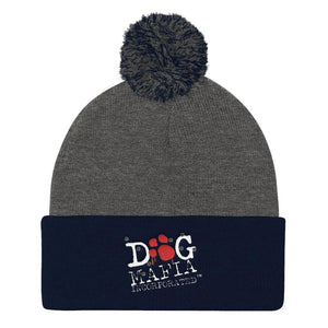 Dog Mafia Inc Pom Pom Knit Cap Hats Printful Dark Heather Grey/ Navy