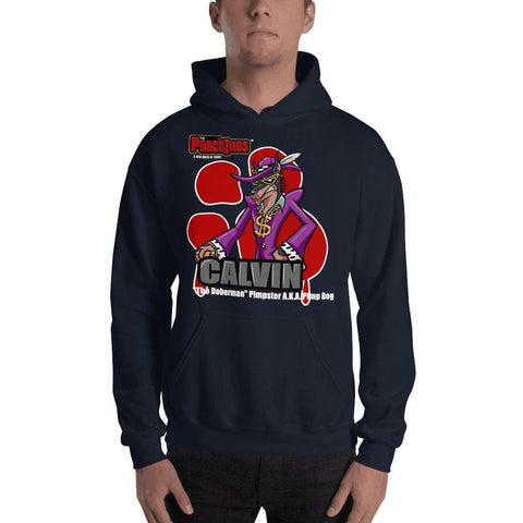 "Calvin ""The Doberman"" Bloody Paw Hooded Sweatshirt Hoodies Printful Navy S"