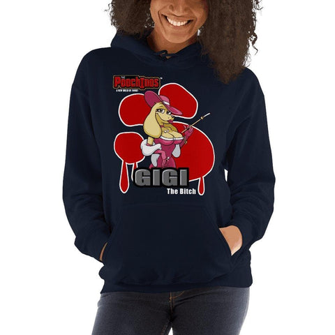 Image of GiGi Goldalinie Bloody Paw Hooded Sweatshirt Hoodies Printful Navy S