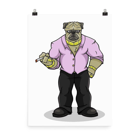 "Pugsy ""The Pug Boss"" Poster Posters Printful 18×24"
