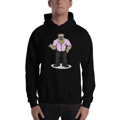 "Image of Pugsy ""The Pug Boss"" Hooded Sweatshirt Hoodies Printful Black S"