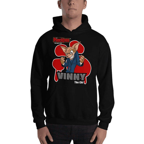 "Vinny ""The Chi"" Bloody Paw Hooded Sweatshirt Hoodies Printful Black S"
