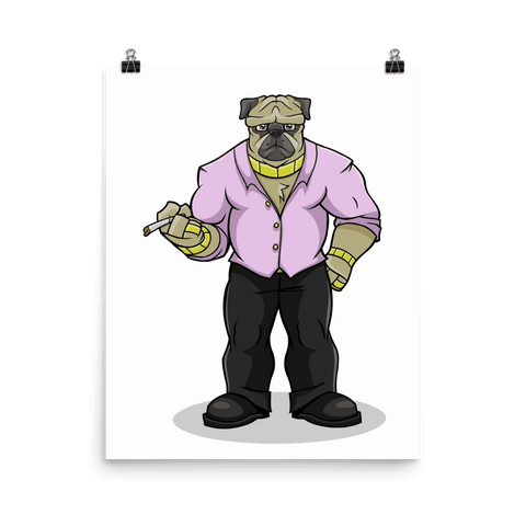 "Pugsy ""The Pug Boss"" Poster - Dog Mafia Gear"