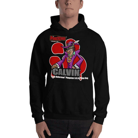 "Image of Calvin ""The Doberman"" Bloody Paw Hooded Sweatshirt Hoodies Printful Black S"
