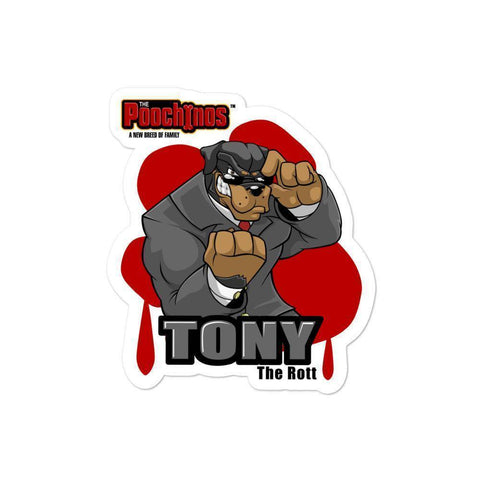 "Image of Tony ""The Rott"" DeBoneo Bloody Paw Sticker - Dog Mafia Gear"