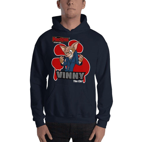 "Vinny ""The Chi"" Bloody Paw Hooded Sweatshirt Hoodies Printful Navy S"