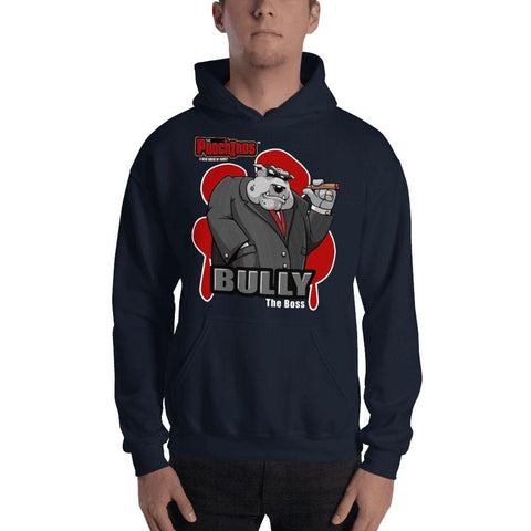 "Bully ""The Boss"" Hooded Sweatshirt Hoodies Printful Navy S"