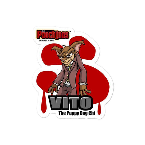 "Vito ""The Puppy Dog"" Sticker Stickers Printful 4x4"