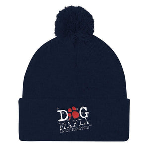 Dog Mafia Inc Pom Pom Knit Cap Hats Printful Navy