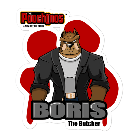 "Image of Boris ""The Butcher"" Bowowskivitch Bloody Paw Sticker - Dog Mafia Gear"