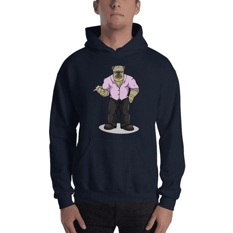 "Image of Pugsy ""The Pug Boss"" Hooded Sweatshirt Hoodies Printful Navy S"